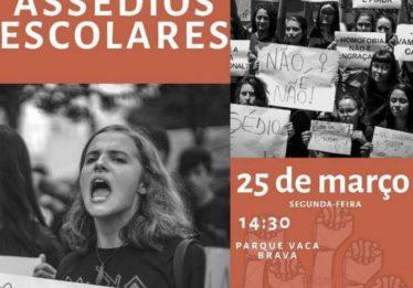 Estudante organizam manifestação contra assédios escolares, em Goiânia