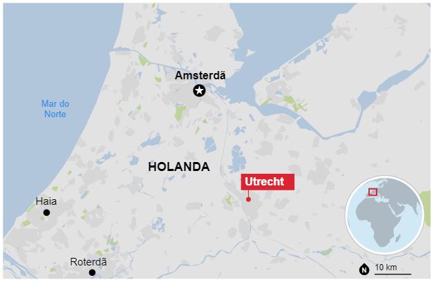O ataque em Holanda ocorreu em Utrecht, cidade 32 km ao sul de Amsterdã (Foto: Reprodução/Google Maps)