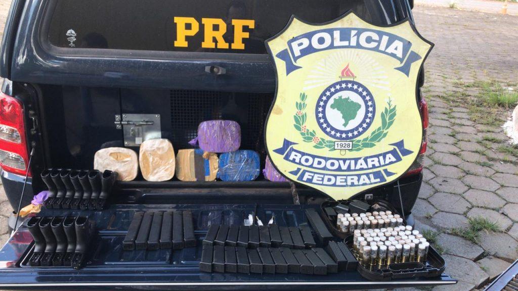 Homem é preso com carregamento de armas, munições e drogas na BR-060 em Guapó