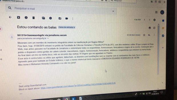Autor de ameaças à UFG direciona ataques a alunos de História e Filosofia