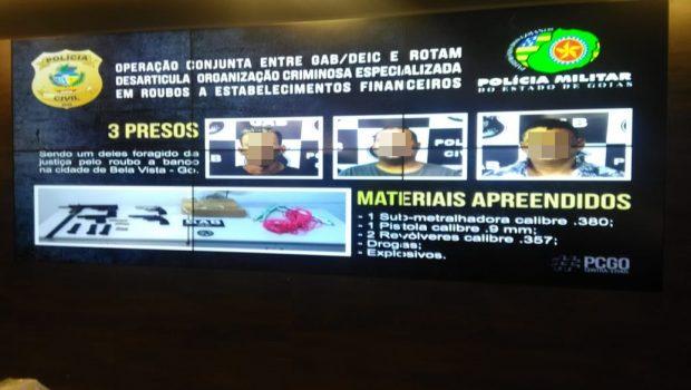 Três suspeitos de integrar quadrilha de roubo a bancos são presos em Goiânia