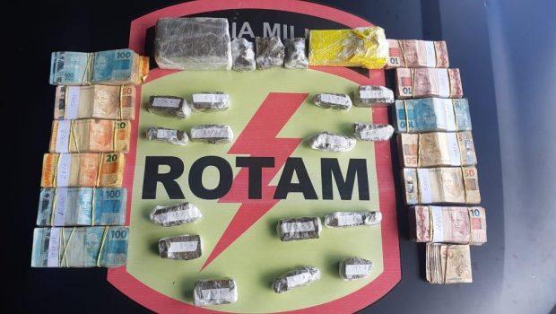 Dupla é presa pela Rotam com drogas e R$66 mil em espécie, em Goiânia