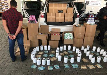 Homem é preso com mais de 300 mil comprimidos ilegais para emagrecimento em Goiânia