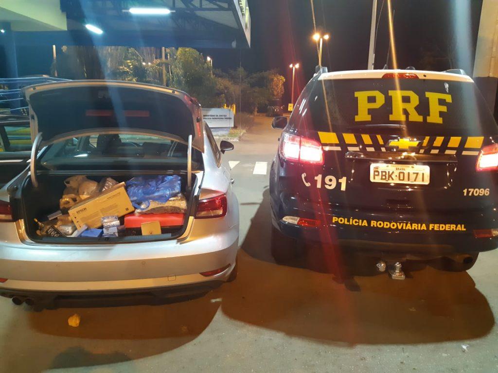 PRF apreende carro de luxo com cargas irregulares avaliadas em R$ 500 mil, em Morrinhos
