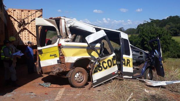 Van escolar colide com caminhão na GO-338, em Goianésia