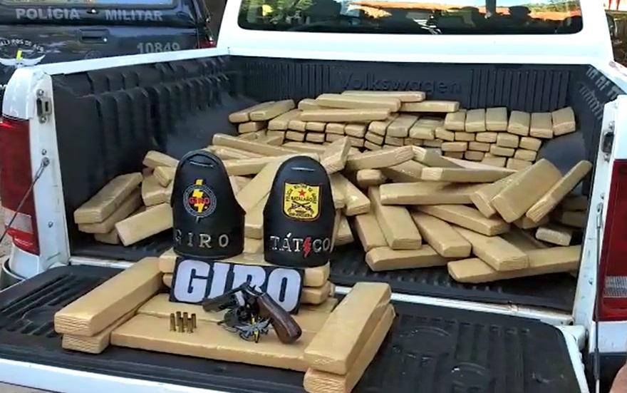 200 kg de maconha foram apreendidos pela Polícia Militar (Foto: Divulgação/PM)