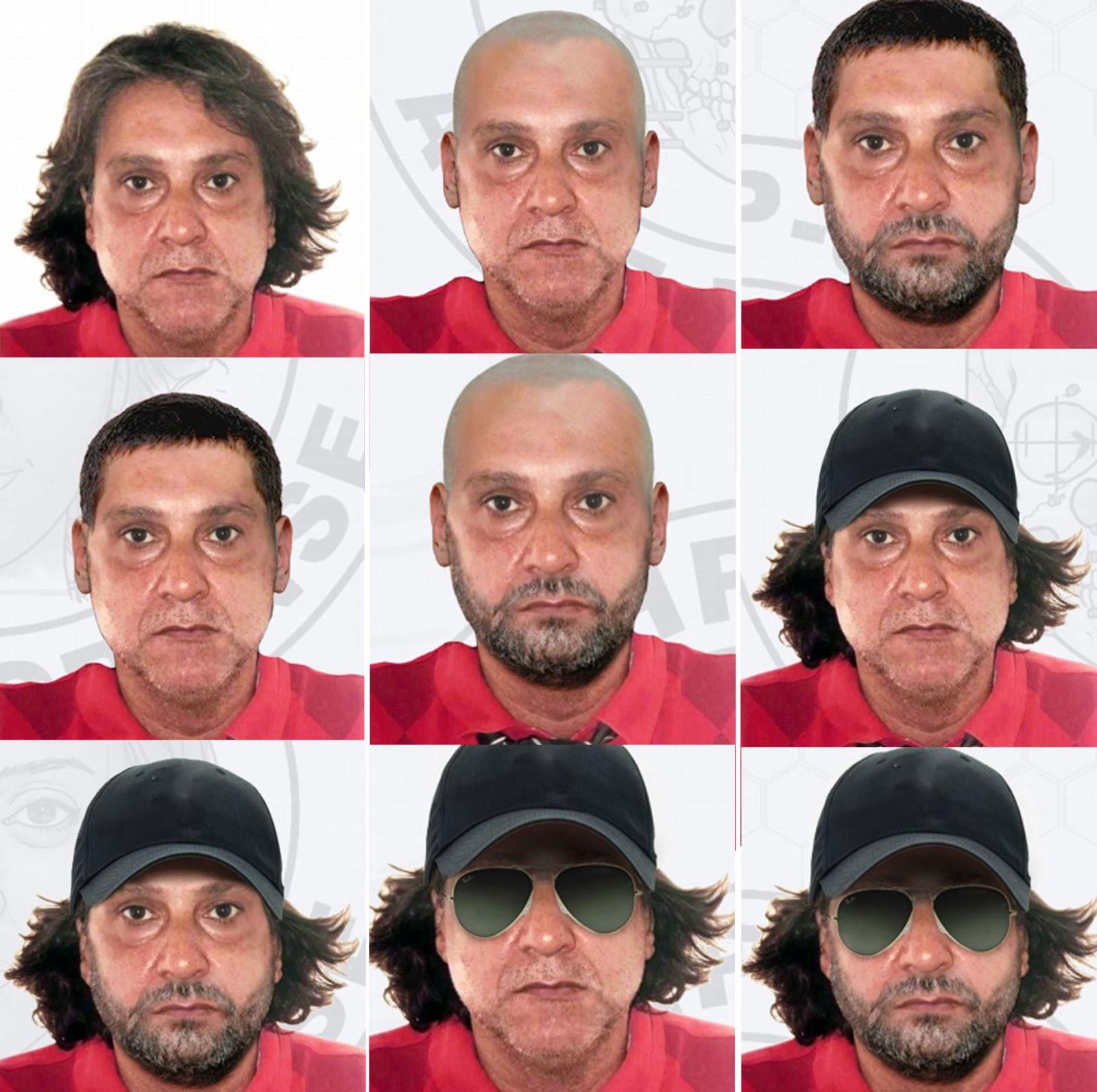Simulação de possíveis disfarces usados por Cupertino (Foto: Divulgação/Polícia Civil)