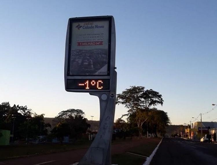 Termômetro instalado em uma das avenidas da cidade de Jataí marcou -1º no início da manhã deste domingo (7).