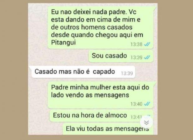 Trecho da conversa pelo WhatsApp entre o padre e o suposto amante (Foto: Reprodução/Redes sociais)
