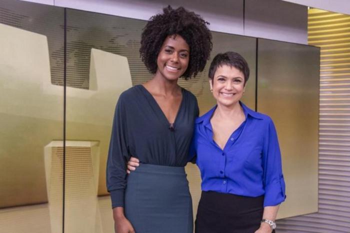 Sandra Annenberg e Maju Coutinho no Jornal Hoje da Rede Globo