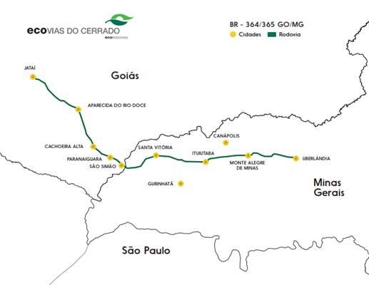Trechos das BRs 364/365, entre Jataí e Uberlândia, é assumido por concessionária