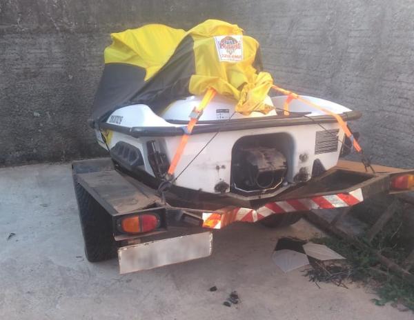 Jet ski adquirido com dinheiro do golpe. Foto: Polícia Civil