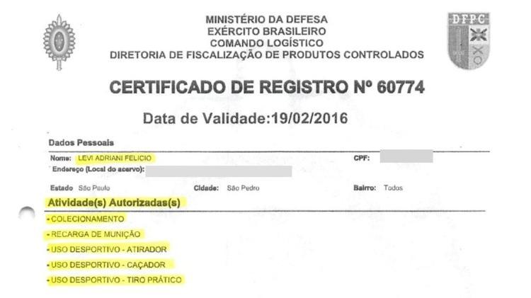 Certificado de CAC de Levi Adriani Felício (Imagem: Reprodução/PF)