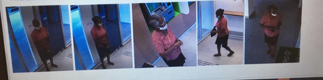 Câmeras de segurança mostram idosa dentro do banco (Foto: Polícia Civil)